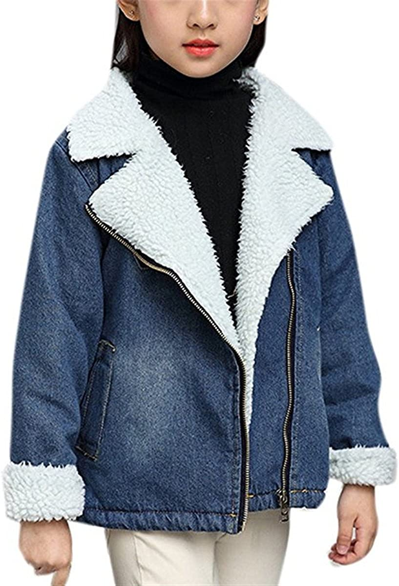 JELEUON Little Big Girls Kids Warm Thicken Notched Shearling-Lined Winter Zipper Denim Jacket Coat Outwear
