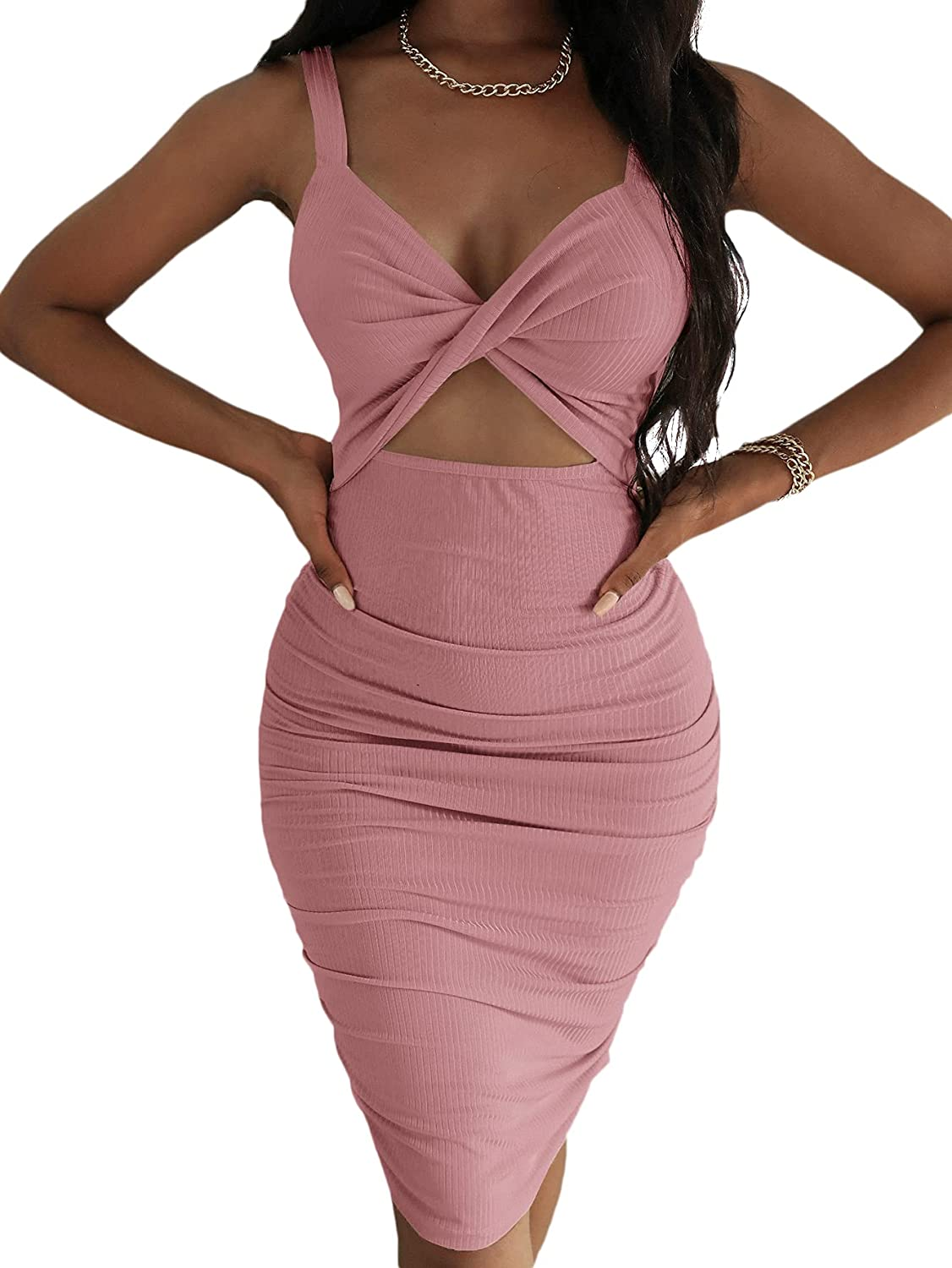 SheIn Women's Twist Cut Out Bodycon Dress Ruched Sleeveless Rib Knit Knee Length Dresses