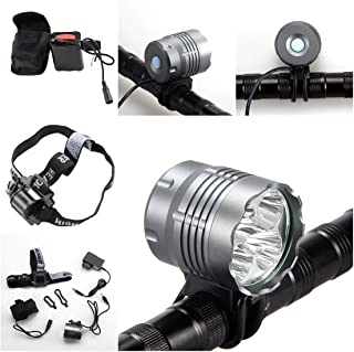 1 Pcs Paradisiac Popular Style 3 Modes 7000Lm 4x LED Bike Lights Bicycle Headlamp Waterproof Headlight Color Gray with Headband