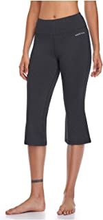 HISKYWIN Bootcut Yoga Pants with Pockets for Women High Waist Workout Bootleg Pants Tummy Control Non See-Through Yoga Capris