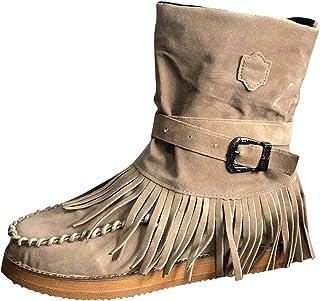 DreamedU Botas con Flecos para Mujer Estilo Retro Romano Botas Cortas con Flecos De Color SóLido Zapatos Planos Elegantes ...