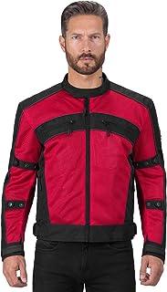 Jaqueta masculina Viking Cycle Ironside de malha têxtil para motocicleta – Ajustável, CE Aprovado Armadura respirável para...