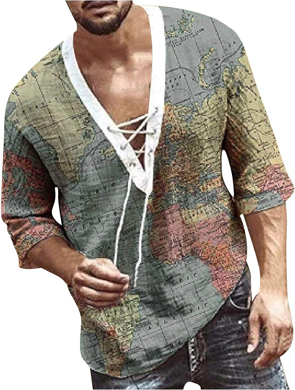 Men's Cotton Linen Henley V Neck Shirt Long Sleeve Hippie Casual Beach T Shirts Lace Up Tunic Yoga Beach Tops