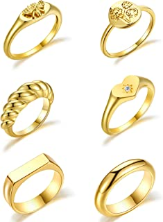 Hicarer 6 Pieces Gold Chunky Dome Rings Set for Women, Handmade Flower Engraved Ring Bee Statement Rings, Braided Twist Th...