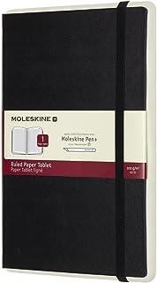 "Moleskine Paper Tablet Hard Cover Smart Notebook, Ruled, Large (5"" x 8.25"") Black - Compatible with Moleskine Pen+ Ellipse (Sold Separately) & App, Digitize & Organize Notes, Ideas, Bullet Journal"