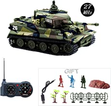 Fun-Here Mini RC Tank with USB Charger Cable Remote Control Panzer Tank 1:72 German Tiger I with Sound, Rotating Turret and Recoil Action When Cannon Artillery Shoots 27MHz(Green)