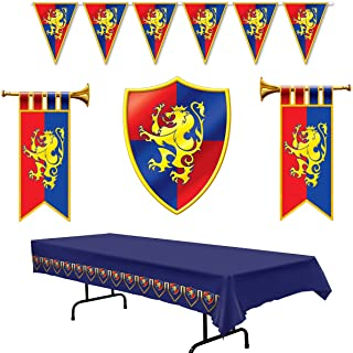 Medieval Party Decorations - Cardboard Herald Trumpets and Crest, Plastic Pennant Banner and Tablecover (Bundle of 5) by M...