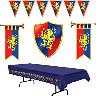 Medieval Party Decorations - Cardboard Herald Trumpets and Crest, Plastic Pennant Banner and Tablecover (Bundle of 5) by Multiple