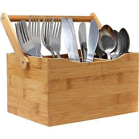 Porte-couverts en bambou | Bambou Organiser | 4 compartiments pour la coutellerie et les condiments | Poignée de transport facile à transporter | M&W