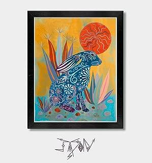 Solar - by Artist Jason Smith - Rabbit Print, Rabbit, Bunny, Rabbit Print Art, Bunny Rabbit, Arizona, Phoenix, Tucson, Southwestern Art, Mexican, Mexican Folk Art