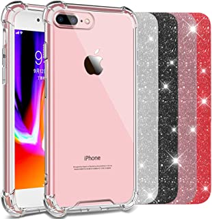 COOLQO Compatible for iPhone 8 Plus Case, iPhone 7 Plus Case 5.5 inch, Soft TPU Shockproof Shock-Absorption Bumper Crystal Hard Back HD Clear Slim Phone Protective Cover with [4 Pack Glitter Sparkle]