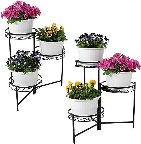 new arrival Sunnydaze wholesale 3-Tiered Metal Plant Stand, Indoor/Outdoor Flower Pot Holder, 22-Inch Tall, outlet online sale Set of 2, Black outlet sale