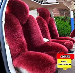 Inzoey Australia Sheepskin Car Seat Covers Winter Warm Wool Seat Cushion Cover Universal Fit for Car Interior Front Seat Wine