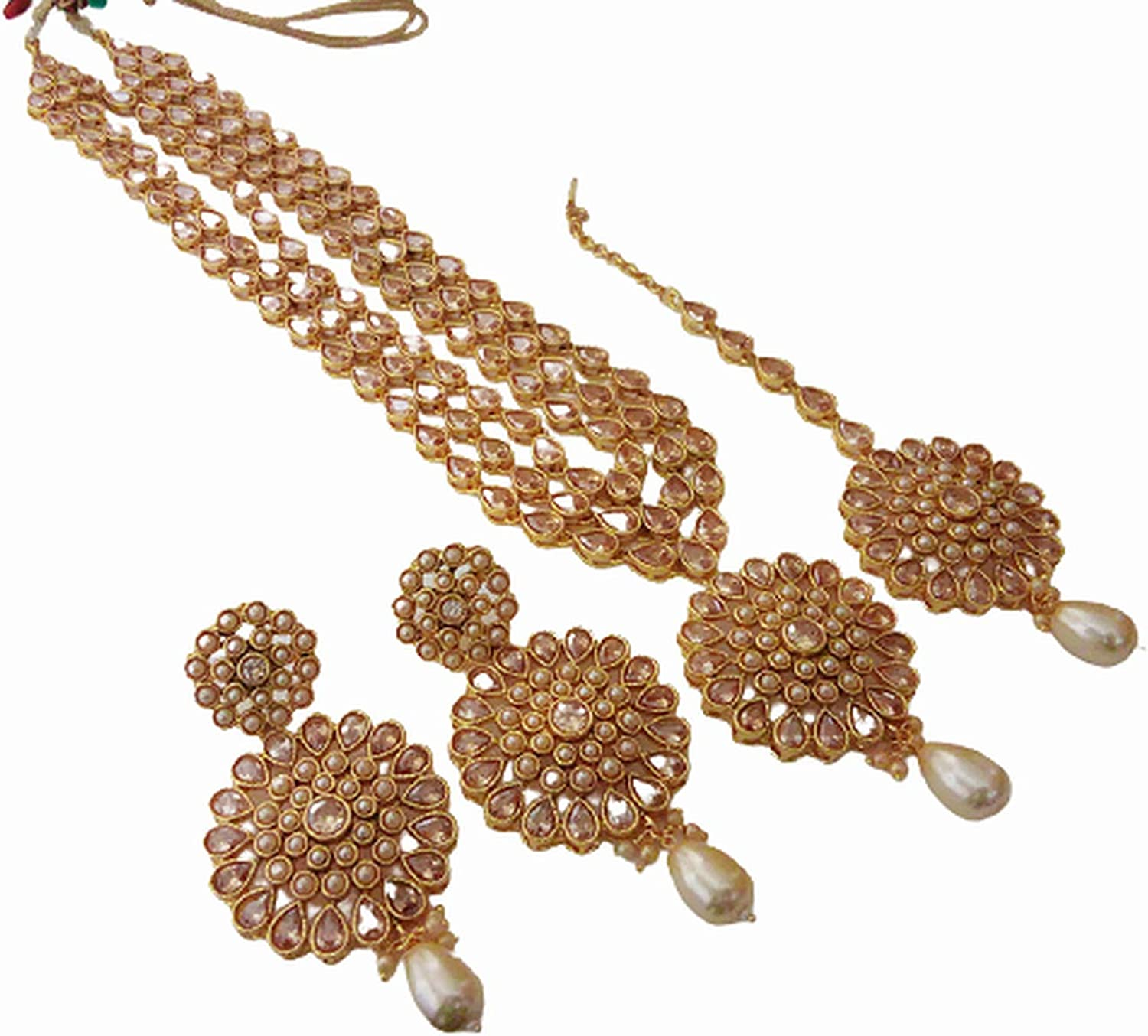 Tezshree (TJ) Indian Bollywood Jewelry Long Necklace Set Earring Tikka Ethnic Gold Plated