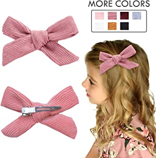 Hair Bows Clip Pink Ribbon Knotted Hair Alligator Clip Boutique Accessories for Newborns Little Girls Toddlers