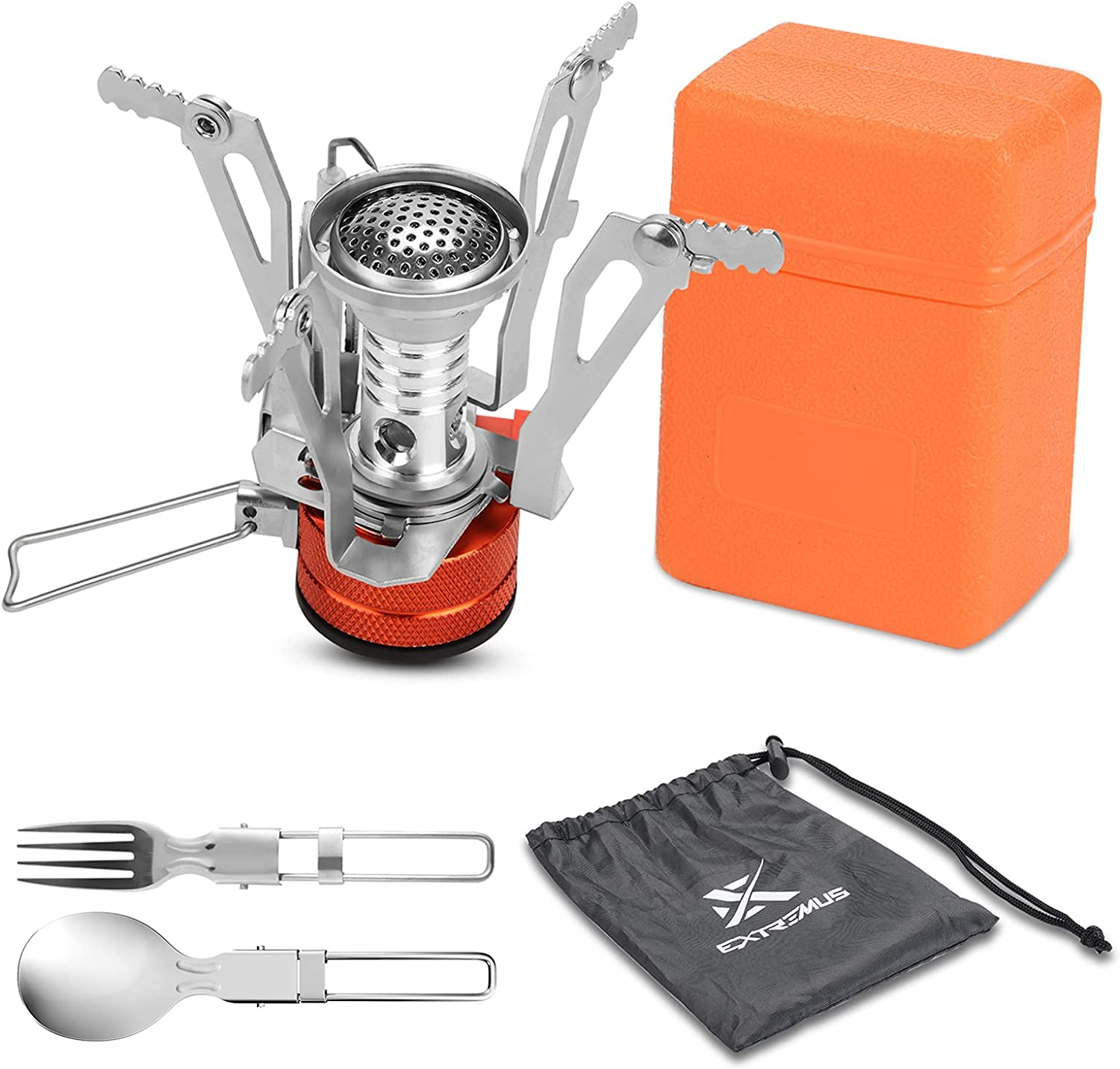 Extremus Portable Camp Stove, Compact Wind Resistant Camping Stove for Backpacking, Hiking, Camping, and Tailgating, Ultralight