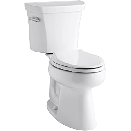 Kohler K-3999-0 Highline Comfort Height Two-piece Elongated 1.28 Gpf Toilet with Class Five Flushing Technology And Left-hand Trip Lever, Seat Not Included, White