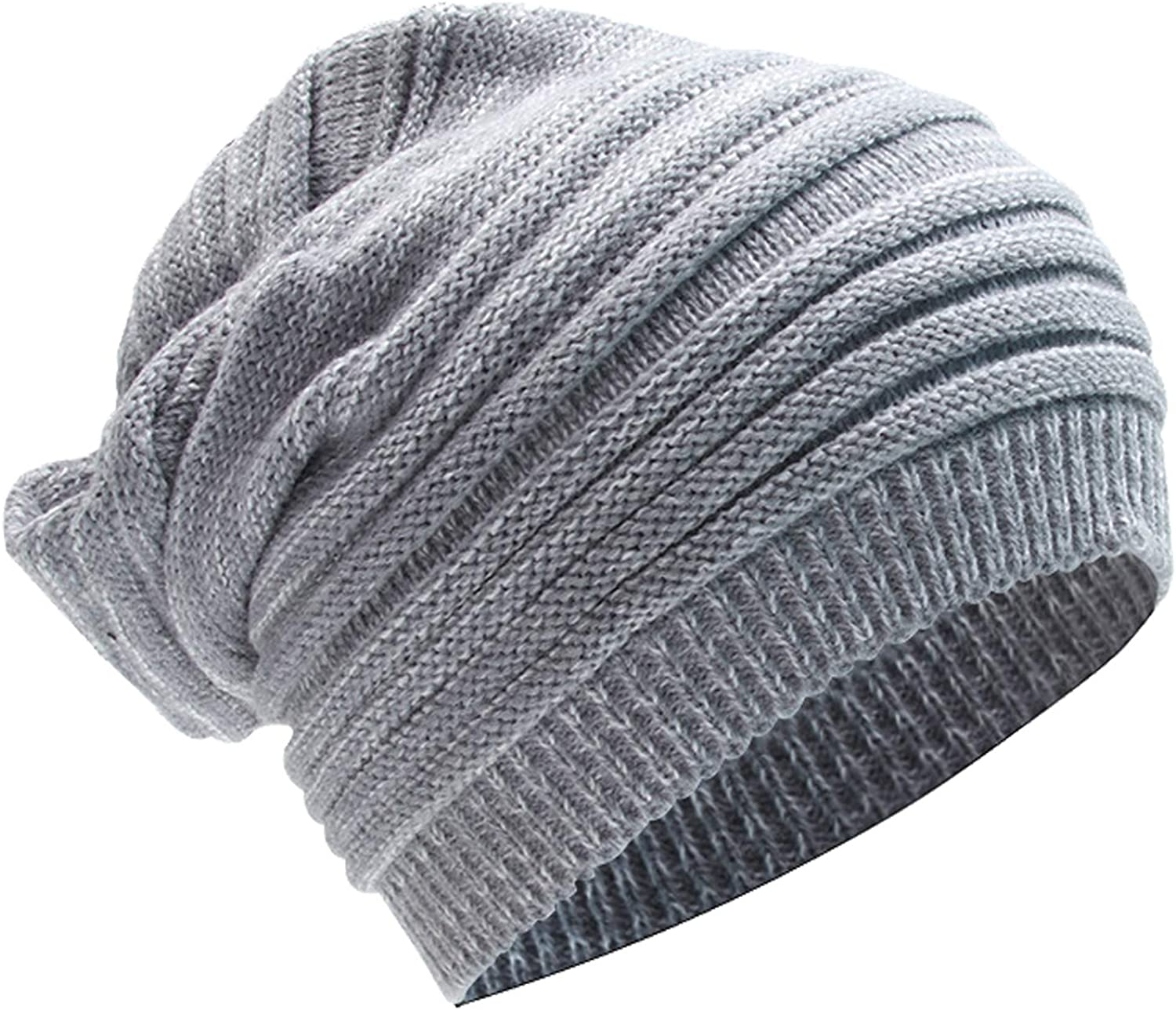 DIAFILM Knit Beanie Hats, Winter Slouchy Hat Oversized Unisex Trendy Skully Warm Mixing Color Chunky Soft Stretch Cable