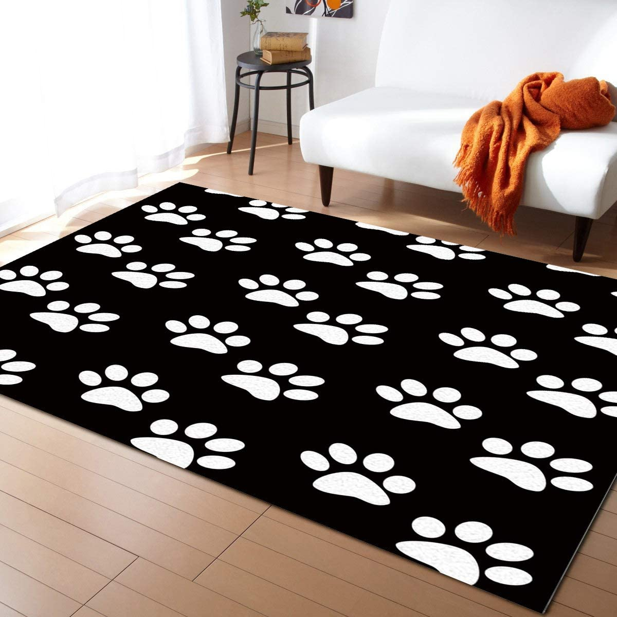 Modern Contemporary Area Rug for Living Dog Bla Paw Ranking TOP20 Product Prints Room