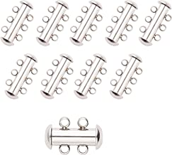 PH PandaHall 10 Sets Stainless Steel Slide Lock Clasps Tube Lock Clasp Connectors 3-Strand Slide Necklace Clasps for Necklace Bracelet Jewelry Findings
