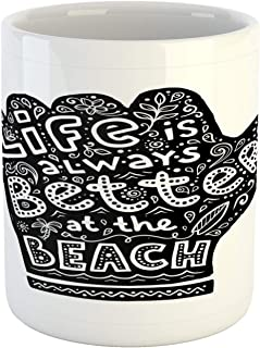 Lunarable Saying Mug, Shaka Sign with Life is Better at the Beach Message, Ceramic Coffee Mug Cup for Water Tea Drinks, 11 oz, Dark Petrol Blue White
