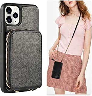 JLFCH iPhone 11 Pro Max Wallet Case, iPhone 11 Pro Max Crossbody Case with Zipper Credit Card Slot Holder Wrist Strap Lanyard Protective Cover Women/Girl Purse for iPhone 11 Pro Max, 6.5 inch - Black