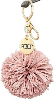 A-List Greek Kappa Kappa Gamma Pom Tassel Keychain Sorority Key Chain with Laser Engraved Charm