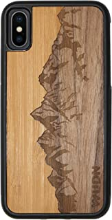 Wooden Phone Case (Sawtooth Mountains | Bamboo Sky) Compatible with iPhone X, iPhone Xs