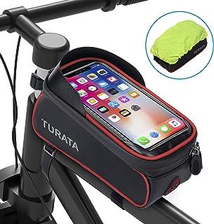 TURATA Bolsas de Bicicleta, Bolsa Impermeable para Bicicleta, Bolsa Táctil de Tubo Superior Delantero con Orificio para Au...