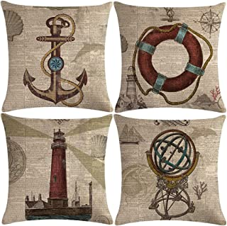 7COLORROOM Set of 4 Vintage Sea Theme Pillow Covers with Nautical & Ocean Style Life Buoy& Anchor Pattern Cushion Covers B...