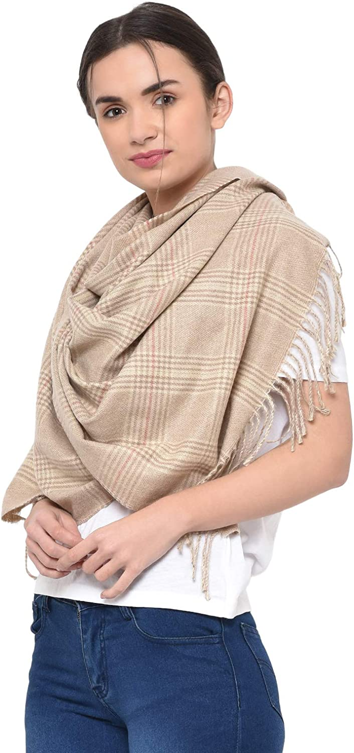 Weavers Villa Womens 100% Cashmere Plaid Scarf Large Long Check Wrap Shawl with Tassels (Size: 28
