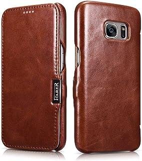 Icarer Curved Edge Case For Samsung S7 Genuine Vintage Leather Hand Made, Brown