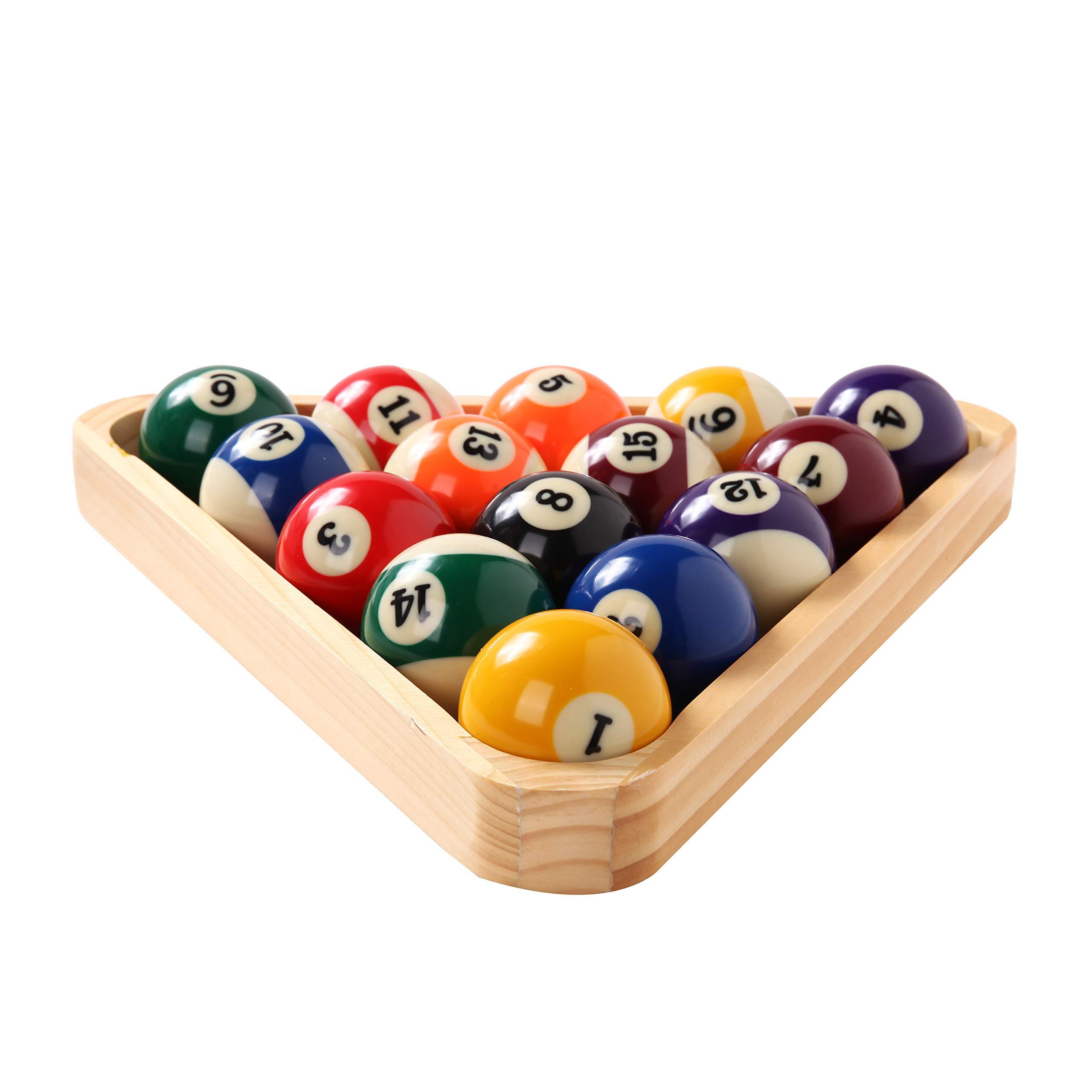 BETTERLINE - Juego de Bolas de Billar para Mesa de Piscina, triángulo, Bola y Estante de Diamante de 9 Bolas (Madera), 5 tizas y 2 Pegatinas para manteles – Accesorios para Mesa