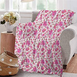 Luoiaax Floral Comfortable Large Blanket Botanical Watercolor Plants with Swirled Leaves Dotted Branches Pattern Microfiber Blanket Bed Sofa or Travel W60 x L50 Inch Pink Purple Burgundy