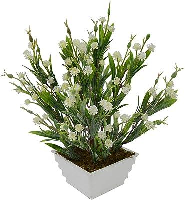 Fancy Mart Artificial Mini Carnation Grass Flower Plant in Square Pot (30 cm, White)
