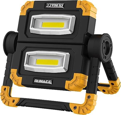 RUNACC Projecteur LED Rechargeable Projecteur Chantier 20W 1500LM Lampe de Travail Lanterne Portable avec Rotation à ...