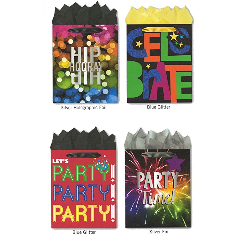 Pack of 4 Large Party Gift Bags. Assortment of Foil and Glitter Embellishments Birthday, Graduation, Any Celebration