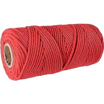 SUNTQ Cordón de macramé Algodón de poliéster trenzado de 4 hilos 3mm x 100m Cuerda de algodón suave para colgar plantas artesanales Colgar artesanías, decoración de tejer, hilo de algodón rojo: Amazon.es: