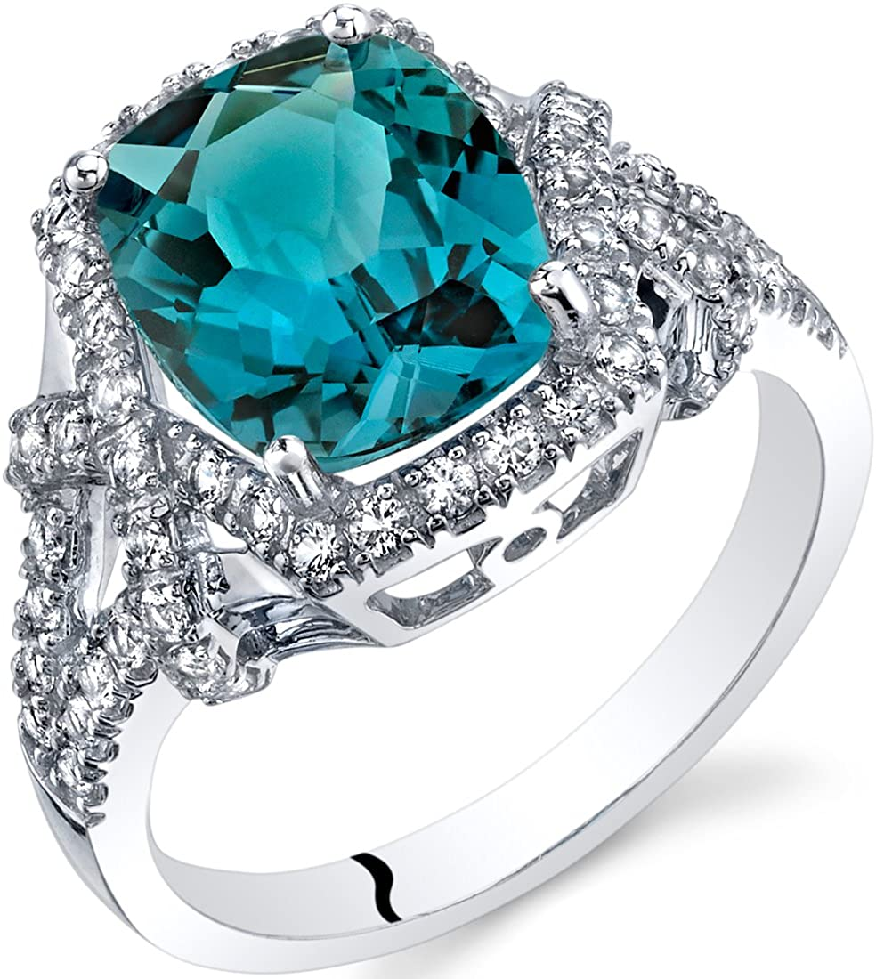 London Blue Topaz Cushion Cocktail Ring in 14K White Gold (3.50 carat)