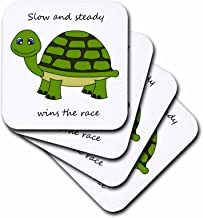 3dRose CST_6106_2 Slow and Steady Wins The Race Green Turtle Soft Coasters, Set of 8