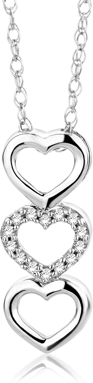 Orovi collana per donna,con pendente a forma di cuori,in oro bianco (1,29 gr)con diamanti 0,03 ct OR81181N