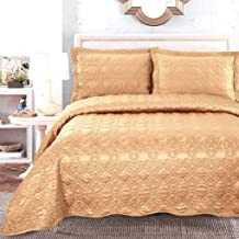 Satin Jacquard Quilted Bedspread with 2 Pillow Shams Comforter Quilt Throw Set for Bedroom Decor, Yellow