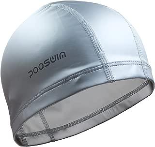 Poqswim Adult Size Lycra Swim Cap with PU Coat Can Fit Long Hair Swim Cap