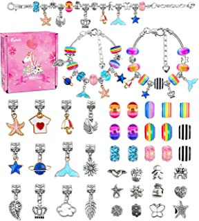 Creen Girls Charm Bracelet Making Kit, Arts and Crafts Gifts for 6-12 Year Christmas Girls Teen Kids