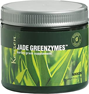 Nikken Kenzen Jade GreenZymes Barley Grass - Supplement for Strong Immune System, Maintain Blood Glucose and pH level, Organic, Kosher and Vegan certified, USDA Organic, Non Gluten , 50 Serving Jar