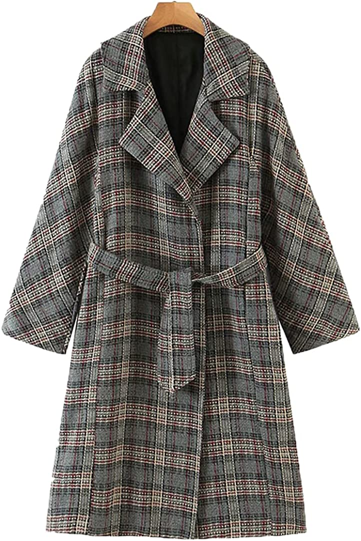 Women Autumn Winter Raglan Sleeve Pocket Open Front Longline Trench Belted Red Casual Jacket Plaid S