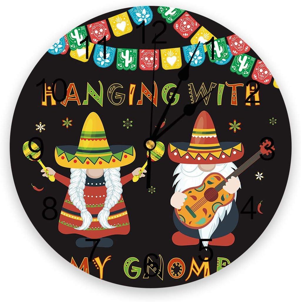 México 5 de mayo Reloj de pared silencioso que no hace tictac, relojes de números redondos de PVC que funcionan con pilas, decorativo para dormitorios del hogar 9,8 x 9,8 pulgadas Strawhat Chili Guita