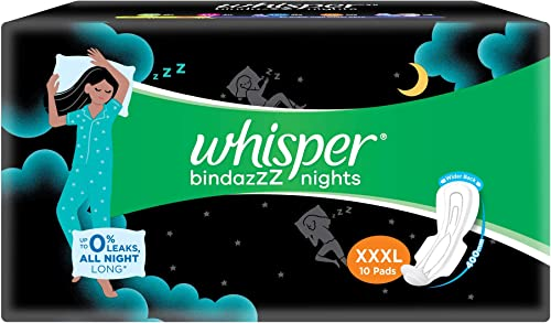 Whisper Bindazzz Night Sanitary Pads for Women, XXXL 10 Napkins