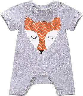 Babywow Newborn Baby Boys Girls Cute Fox Romper Bodysuit Short Sleeves Cartoon Jumpsuit Pajamas Outfits