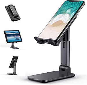 Cell Phone Stand, Tekpluze Angle Height Adjustable Cell Phone Stand for Desk, Thick Case Friendly Phone Holder Stand for Desk, Compatible with All Mobile Phone (Black)